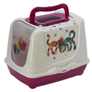 Moderna Trendy Cat Friends Forever Закрытый туалет для кошек c угольным фильтром и совком, ярко-розовый, дизайн Друзья Навеки, 50х39х37 см